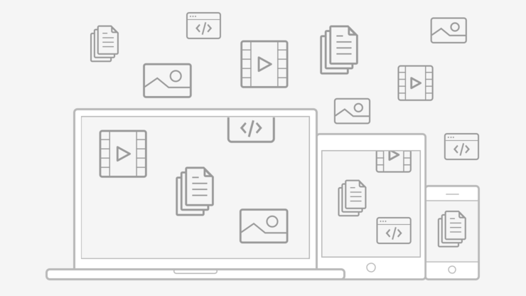devices with a cloud of data icons